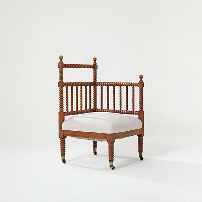 19th Century Bobbin Corner Chair. Upholstered in Natural Linen. Victorian