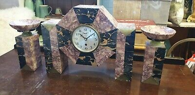 Art Deco Marble Clock & Garnitures , French, 1920's