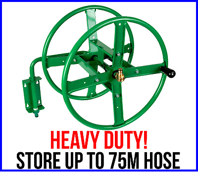 WALL MOUNTED METAL HOSE REEL Heavy Duty Store Up To 75m Garden Water Hose Pipe