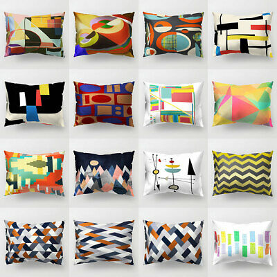 Fj- Color Block Cross Wave Throw Pillow Case Cushion Cover Sofa Bed Car Office D
