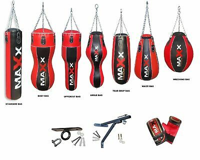 NEW Blk/red 4ft 5ft Filled Heavy Punch Bag Boxing Set +FREE CHAIN 7 bag styles 1