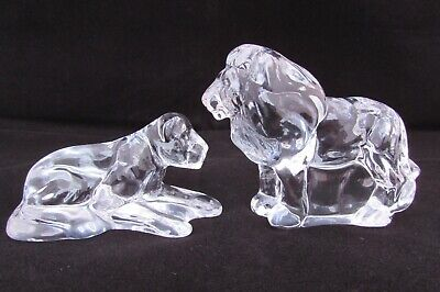 Reduced Stunning Crystal Glass Lion & Lioness Figures Safari Animals Ornament