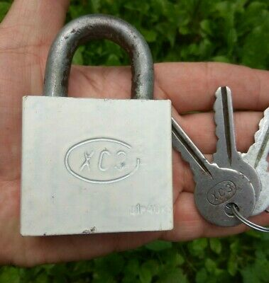 iron vintage Antique padlock from  soviet Union with 3 original keys