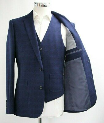 Men's Unbranded Checked Navy Blue Blazer & Waistcoat Set (40R).. Sample 5961