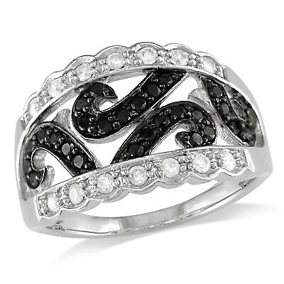 Amour 14k White Gold With Black Rhodium Black-and-white Diamond Scroll Ring