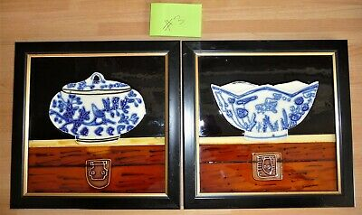#3 Pair Chinese China Tile Picture Frame Tube Lined Bowl Tureen Dish Blue White