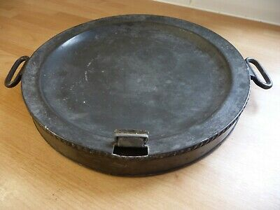 antique dixon & sons beaded pewter warming plate dish hot water warmer handles