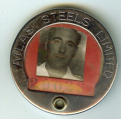 Vintage Atlas Steel Photo ID Badge