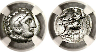 NGC Graded ALAEXANDER the GREAT Silver Greek Drachma Herakles / Zeus/ Eagle-COA