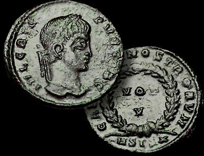 Crispus Caesar - Son of Constantine the Great 317-326 AD. Roman Coin +COA