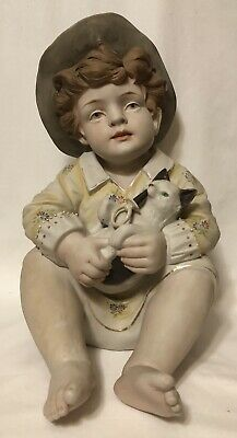 """Antique German Porcelain Bisque Large Piano Baby Figurine- Boy with Cat -12"""""""