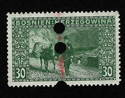 OPC 1906 Bosnia 30h Donkey Post Sc#38 Perf 12.5 Hole Punch Perfin 36563