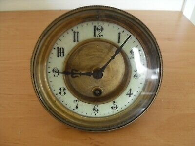 Old Wind Up Clock for Spares. Lovely Clock Face and Arms. Hinged Glass.