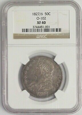 1827/6 50C Capped bust Silver Half Dollar, O-102, NGC XF 40