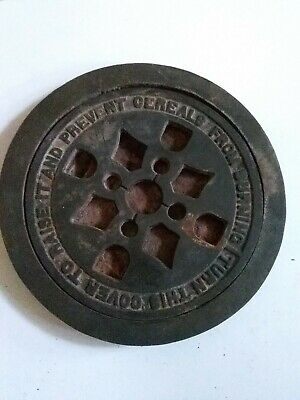 """8""""  CAST IRON REGISTER ROUND STOVE GRATE """" Turn This Cover to Raise it & Prevent"""