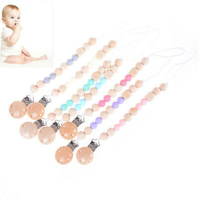 Candy Color Pacifier Clip Chain Holder Wood Silicone Beads Nipple Dummy HolPLUS