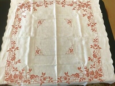 Vintage Linen Muted Orange Cross Stitch Embroidery Square Tablecloth 40 x 40""