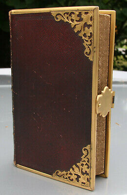 antique 1852 Bible related book BRASS CLASP scrolled art work on page edges