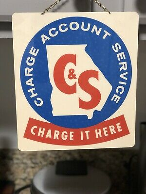 Vintage 60's-70's Citizen's & Southern Bank Charge Account Service Merchant Sign