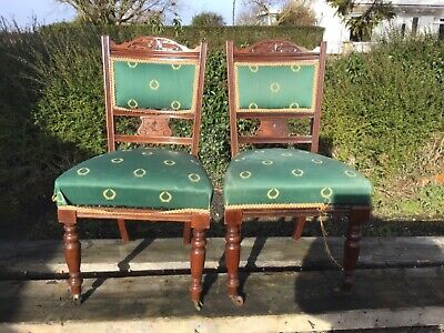 2 No vintage  ANTIQUE EDWARDIAN VICTORIAN DINING CHAIRS with casters