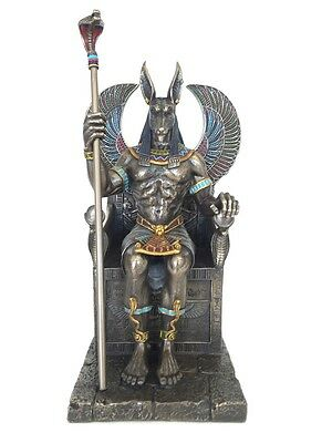 Anubis Sitting In Throne Egyptian God Statue Sculpture UNIQUE DETAIL GREAT GIFT!