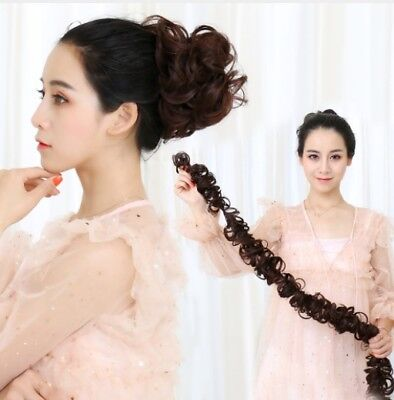 Wrap On Messy Bun Curly Ponytail Hair Piece Chignon Updo Hair Extension #E4