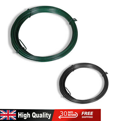 25m PVC Galvanised Steel Tension Straining Line Wire Chain Link Fence Grey/Green