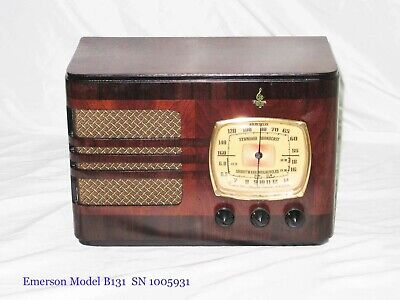 Emerson B131 Old Antique Wood Tube Vintage Refinished Working Radio