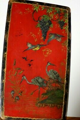 Vintage Japanese Style Hand Painted Lacquered Wood Signed