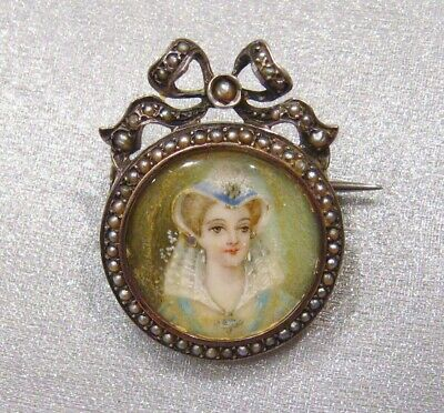 Antique French Detailed Hand Painted Lady Portrait Seed Pearl Silver Pin Brooch