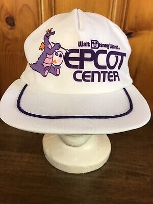 Vintage 80s Walt Disney World Epcot Center Figment Dragon White Trucker Hat 1982