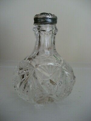 ANTIQUE EDWARDIAN CUT GLASS SHAKER WITH STERLING TOP c.1905