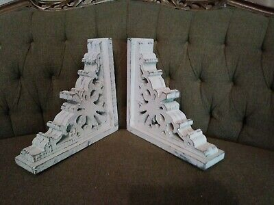 Pair Farmhouse Wood Corbels shelf brackets Mantel country Home Decor primitive 2