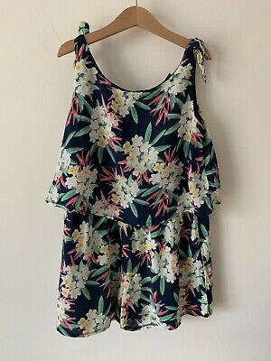 Girls Age 11 TU 10-11 Years Blue Tropical Floral Playsuit Outfit