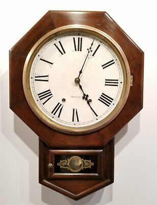Antique 8 Day New Haven Schoolhouse Regulator Clock 12 Inch Dial Working