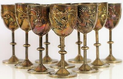 Antique Chinese Export Silver Dragon Cordial Goblet Cup Set Of 10 ~41 Grams Each