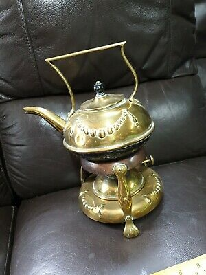 Very Rare Antique Beautiful Brass Teapot With Oil Lamp On Stand Indian? embossed