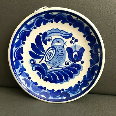 """Hand Painted Wall Plate Pottery Blue Bird H.B. signature 6"""""""