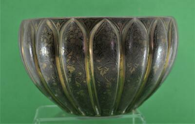 Antique Indian Mughal Bidriware bowl good decoration untouched as found