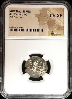 4th CENTURY BC SILVER MOESIA ISTRUS INVERTED HEADS DRACHM EAGLE NGC CHOICE XF