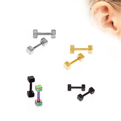 Earring Tragus Ear Helix Cartilage Stainless Steel Barbell Dice Earring Piercing