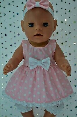 "Play n Wear Dolls Clothes For 17"" Baby Born POLKA DOT DRESS~BLOOMERS~HEADBAND"