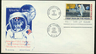 C76 Moon Landing Cachet 1969 Dual Cancel UA First Day Cover Chickering Jackson