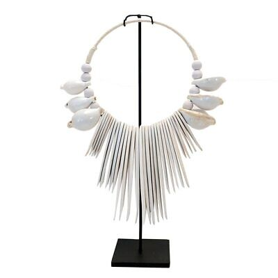 Beach style  Wooden  wash Cuttle & Shell Necklace on metal stand