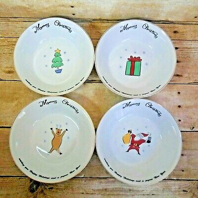 "Merry Brite Christmas Soup Cereal 6.5"" Bowls Gift Santa Tree Reindeer Set of 4"