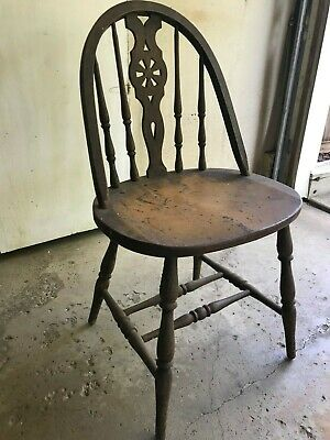 Rare Antique Primitive Turned Spindle Bow Back Wood Mustard Paint Chair -Pickup