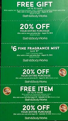 lot of 6 BATH & BODY WORKS COUPONS