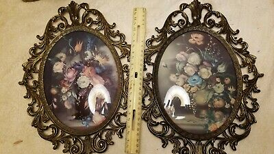 Vtg Set 2Large Antique Oval Ornate Italy picture photo frame old Home Wall Decor