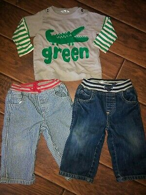 BABY MINI BODEN Boys Infant Baby 2 Pants Ribbed Jeans Top Shirt Lot ~ Sz 12 - 18