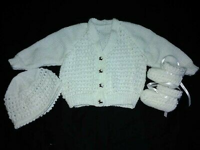 baby hand knitted white set grape pattern on front with cap and booties